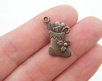 6 Christmas stocking charms antique copper tone CC32