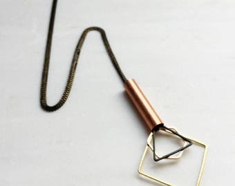Industrial Geometric Long Necklace, Statement necklace, Gold triangle necklace, Copper Tube necklace, minimalist modern, Gift for her women