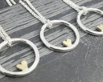 Complete Sweetheart - 9ct 14ct gold heart pendant - minimalist, modern, wedding jewellery, made in uk
