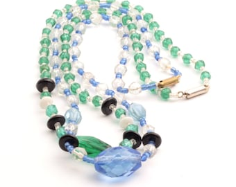 Lot (2) Vintage Czech necklaces English cut green blue faceted glass beads 2423-38