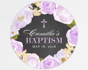 Baptism Favor Tag, Baptism Favor Label, Christening Favor Tag, Christening Labels, Chalkboard, Purple, Floral Baptism, Watercolor, Camilla
