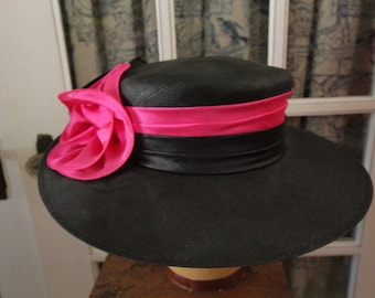 Vintage Black Straw Sun Hat with Satin Flowers