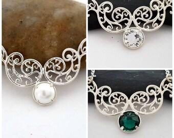 Wedding necklace bridal jewelry, Wedding jewelry for brides, Crystal necklace silver, Crystal bridal necklace silver, Bridesmaid jewelry
