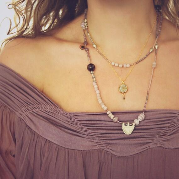 Long Watermelon Tourmaline Necklace - Long Boho Necklace