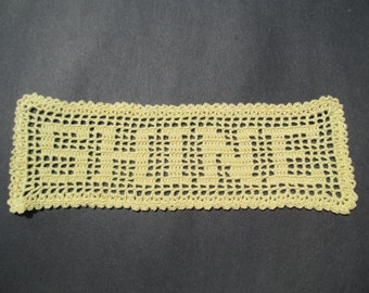 Crocheted Doily Yellow Filet - Shine - Filet Doily