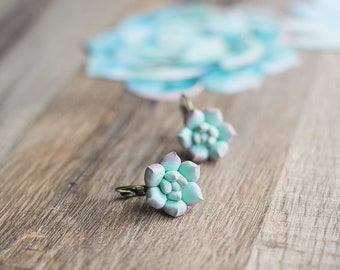 Succulent earrings - botanical jewelry - succulent jewelry - planter jewelry - nature inspired earrings - terrarium earrings, plant earrings