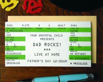 letterpress dad rocks! father's day rock concert ticket greeting card rockin lime black & white