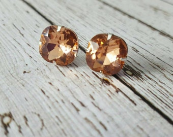 Large Peach Pink Crystal Stud Earrings, Purchase 3 or more get 10% off