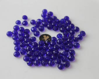 40 royal blue faceted round 8 mm glass beads - jewelry
