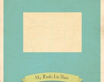 Map Nursery Art, Map Art Print, Map Wall Decor, 11x14, Customized Print, Wyoming Roots Map