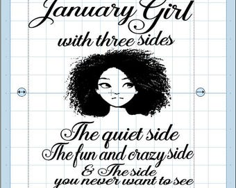 January Girl with picture. svg