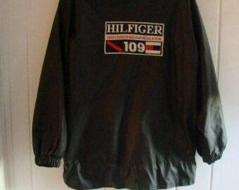Tommy Hilfiger jacket, black vintage Tommy jacket of 90s hip-hop clothing, 1990s hip hop sailor college jacket, OG gangsta rap size L Large