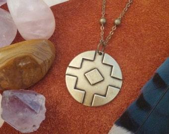 Eclipse // Southwestern Necklace // Brass // Indie Necklace // Tribal Necklace // Native American // Boho Necklace // Layering Necklace