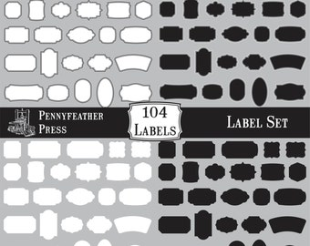 HUGE set of Black and White Labels Frames Borders Clipart Shapes