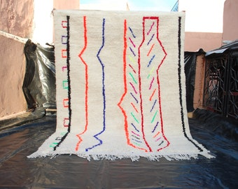 Moroccan Berber Azilal carpet 145 cm x 200 cm = 4.7 ft x 6.6 ft medium handmade rug ,azilal teppich,kilim Moroccan rugs ,