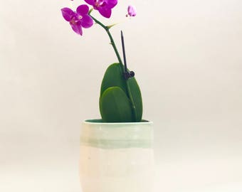 Handmade Small Square White Orchid Pot with Holes