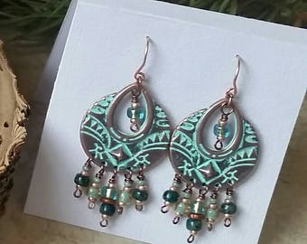 Copper with Patina Chandelier Earrings with Czech glass beads