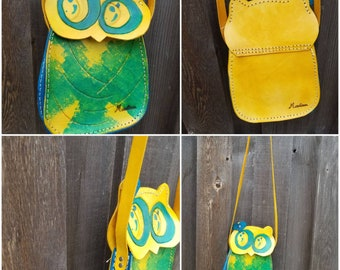 Leather small owl bag