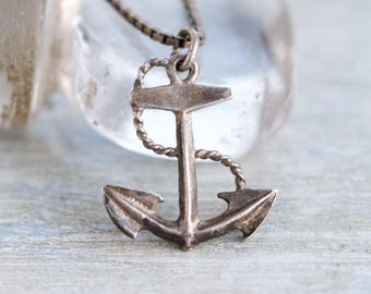 Anchor Necklace - Dark Sterling Silver Pendant on Chain - Vintage Oxidized Nautical Jewelry