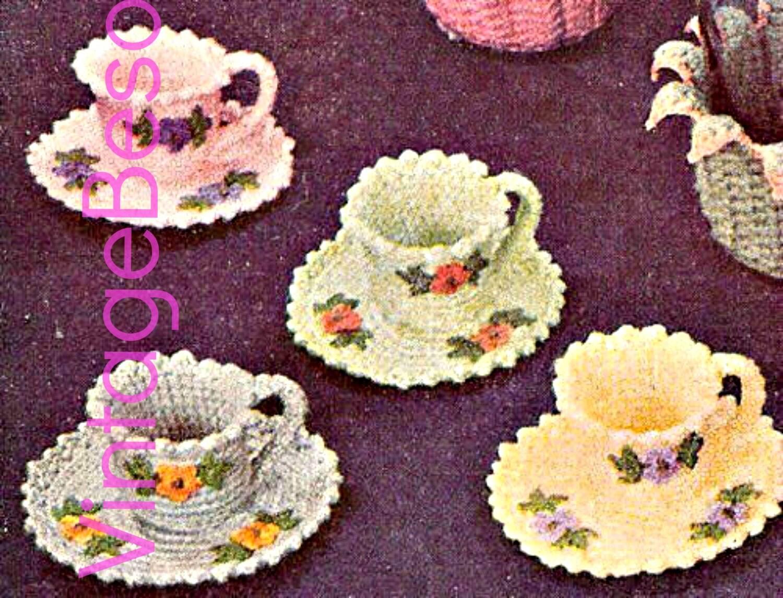 Tea Cup Crochet Pattern Saucer Crochet Pattern Vintage 1950s