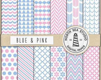 Blue And Pink Digital Paper Pack | Scrapbook Paper | Printable Backgrounds | 12 JPG, 300dpi Files | BUY5FOR8