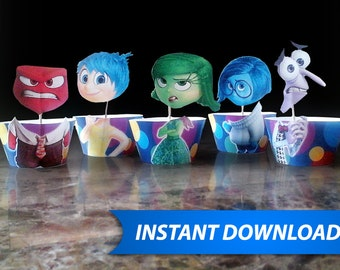 Inside Out Cupcake Wrappers - INSTANT DOWNLOAD