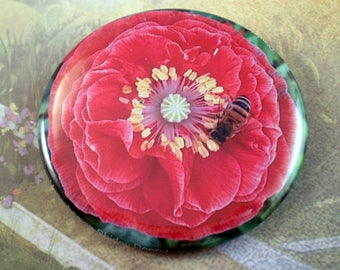 Large Bee Keeper Magnet, Pin or Pocket Mirror, 2.25'' Inch, Save the Bees, Garden Poppy Series, Bee Lover Gift, Honey Bees, Bee Club,  A