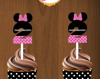 Pink Minnie Mouse Cupcake topper and wrapper Aged 2 - Minnie Birthday Decor -  Minnie Mouse Party- INSTANT DOWNLOAD- CraftyCreationsUAE