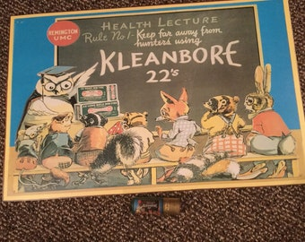 Remington kleanbore poster print sign with a matching shell