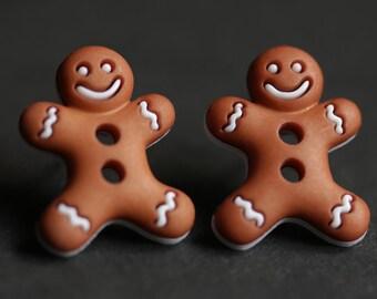 Gingerbread Man Earrings. Christmas Cookie Earrings. Holiday Jewelry. Xmas Earrings. Christmas Earrings. Stud Earrings. Post Earrings.