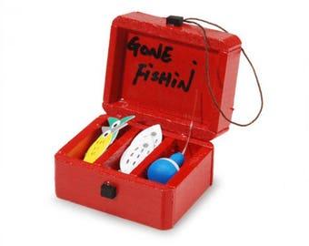 Dollhouse Miniature, Fairy Garden, Miniature Tackle Box, Fishing
