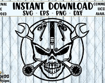 SALE - Instant Download - Personal Use - Mechanic Skull Wrenches - Svg Png Dxf Eps - Cut cutting svg Shirt Cup Design Wall Art