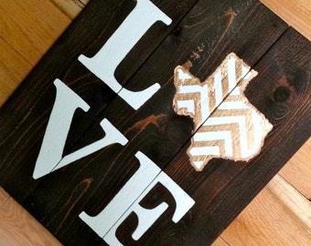 LOVE Texas Chevron Wooden Sign