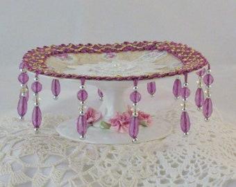 Victorian Vintage Style, Jewelry Plate, Vintage Plate & Pedestal, Shabby Chic Decor, Pedestal Ring Dish, Handmade by julri Box