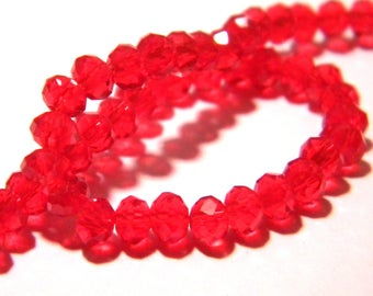 """45 Pearl glass abacus faceted - 4 x 3 mm - way """"jade"""" - red-PG119"""