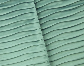 Stone Teal Pleated Satin Home Decorating Fabric, Fabric By The Yard