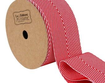 25mm Wide Twill Red Chevron Stripes Ribbon / Gift Wrap Ribbon LBD005