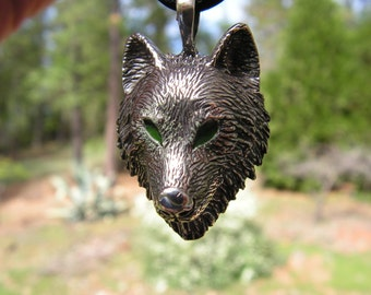 Sterling Silver Timber Wolf Pendant With Green Eyes