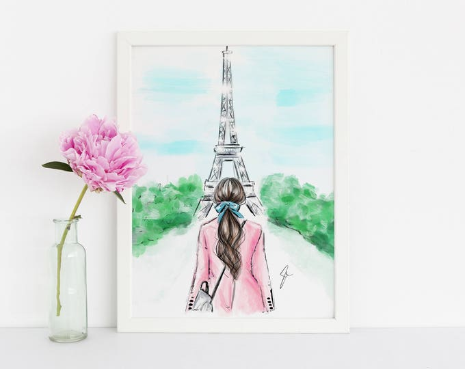 Featured listing image: Pink and Paris (Fashion Illustration Print) (Fashion Illustration Art - Fashion Sketch prints - Home Decor - Wall Decor )