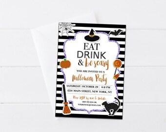 Halloween Invitation - Eat Drink & Be Scary Party Invite - Halloween Party Invitation - Spooky Invitation - Halloween Printable - Digital