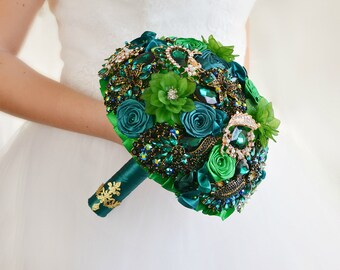 Crystal Wedding Bouquet Bridal Bouquet Brooch Bouquet Green Bouquet Bridesmaids Bouquet Keepsake Bouquet Gift Wedding Jewelry Wedding Dress