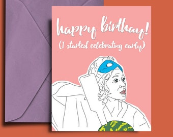 Grace and Frankie, Digital Download, Printable, Grace and Frankie Birthday Card, Netflix, Jane Fonda, Funny Birthday Card, Watermelon, Vodka