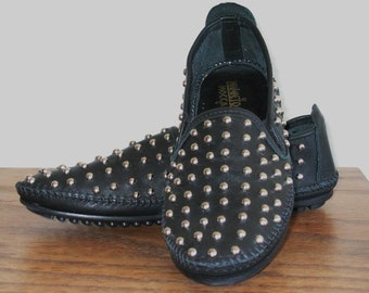 LIMITED STOCK Avant Garde Vtg Style 80s Silver Studded Black Leather Loafer Slip On Flats