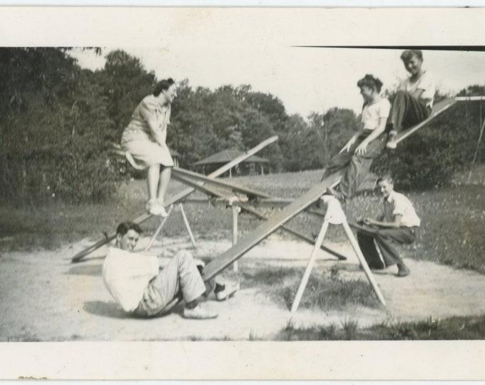 Vintage Snapshot Photo: Teeter Totters [84665]