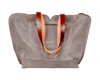 Gray leather tote, soft leather bag, women leather bag , leather handbag , leather shoulder bag , gifts for her , Mother's Day Sale