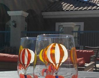 Hand painted juice / water / drinking glasses set of 2 / funny custom gift glasses / elephant balloons / handpainted tumblers / Glassware