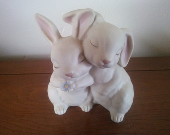 Vintage Easter Rabbits Hugging - Vintage Easter Decor - Rabbit Figurine - Bunny Statue - He Loves Me 1990 Homco Figurine - Vintage Easter