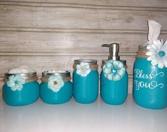 Mason jar bathroom set, Mason jar, rustic decor, bathroom storage, Mason jar decor