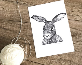 Hare Postcard Set of 3, Linocut Cards, Original Hand Printed Cards, Blank Greeting Cards