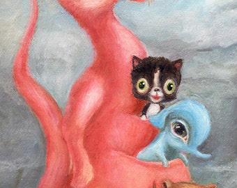 Pink Kangaroo Illustration, Big Eye Art, Pop Surrealism, Print for Nursery